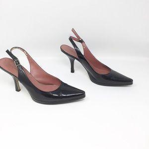 Tabard black patent leather sling back heels